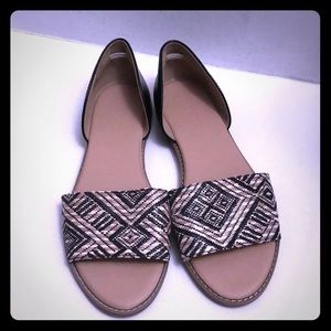 Woven Tribal Print, Open Toe Slides